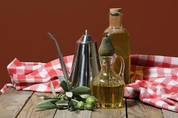 tavola rustica con olio d'oliva