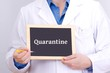 Doctor shows information on blackboard: quarantine