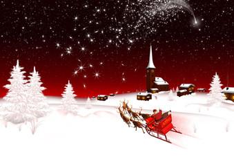 Winterlandschaft, Weihnachten, Weihnachtsmann, Sternschnuppe