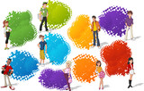 Colorful template for brochure with cool cartoon young people