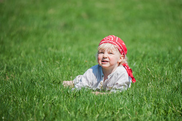 Young boy on the grass
