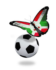 Concept - butterfly with Burundi flag flying near the ball, like