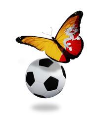 Concept - butterfly with Bhutan flag flying near the ball, like