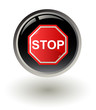 Stop sign on button , vector