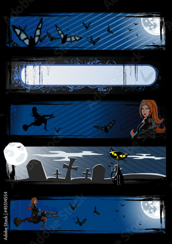 Set of vector Halloween banners