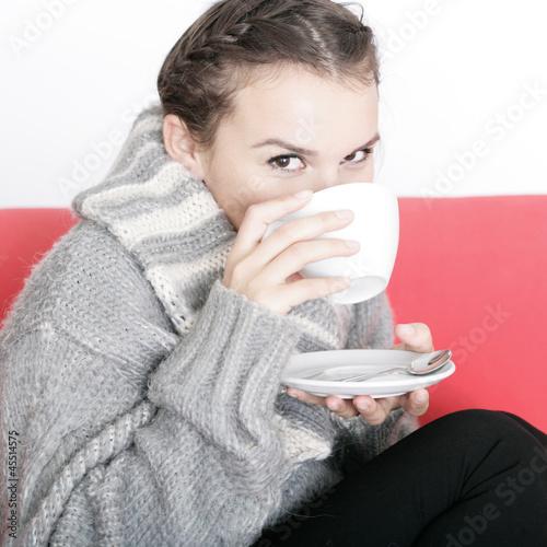Aufwärmen am heißen Getränk