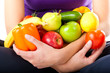 canvas print picture - Gesunde Ernährung - junge Frau mit Obst