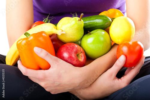 canvas print picture Gesunde Ernährung - junge Frau mit Obst