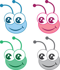 Isolated cartoon bug heads in various colors