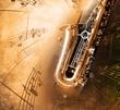 Leinwandbild Motiv Old Saxophone with dirty background