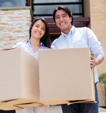 Loving couple moving house