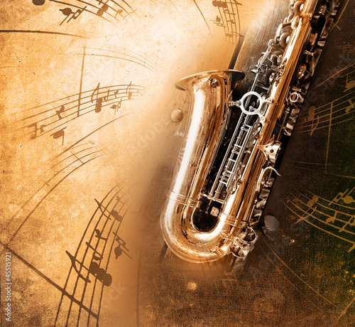 Poster Old Saxophone with dirty background