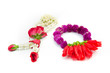 image of Flower garlands in thai style on white background, used