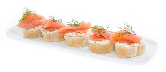Salmon on a Baguette against white