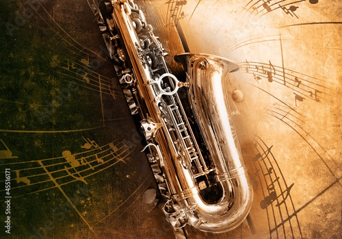 Old Saxophone with dirty background - 45516171