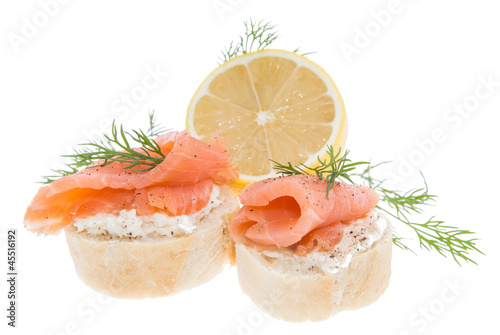 Baguette with Salmon on white
