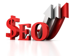 seo concept with dollar sign and growing arrow