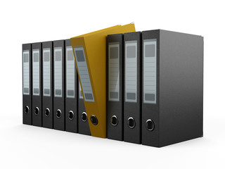 A row of files, with one yellow one standing out from the others