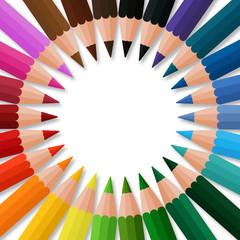 Bunte Farbstifte für die Schule - Kreisförmig angeordnet