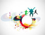 abstract beautiful dancing background, ve tor illustration.