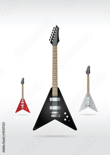 Set of rock guitars