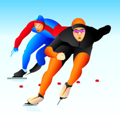 Colorful ice speed skaters at the competition