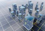 blue modern city grid development illustration or background