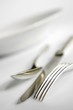 A knife, fork and spoon (close-up)