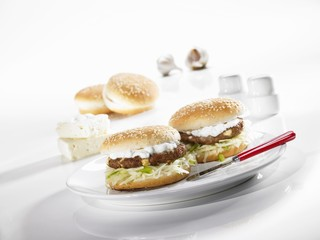 Greek-style hamburger with tzatziki