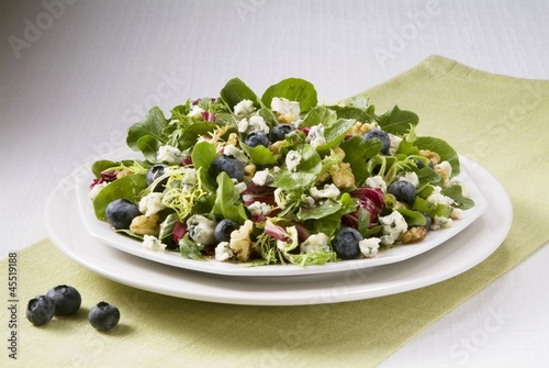 Blueberry, Walnut and Blue Cheese Salad on a Plate