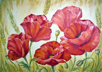 Poppies in wheat , oil painting on canvas