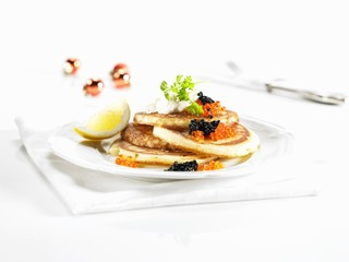Blinis with caviar for Christmas