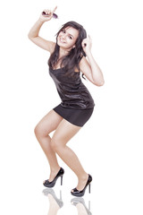 woman is dancing on a dancefloor