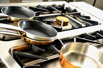 Various pots on a gas cooker