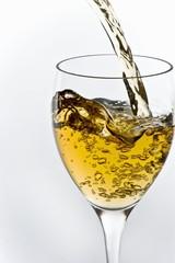 Sauvignon Blanc Wine Pouring into a Glass
