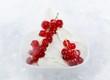 Yogurt ice cream garnished with redcurrants