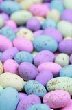 Brightly coloured chocolate eggs
