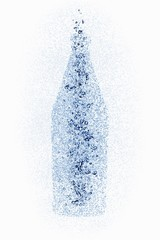 A bottle with water pearls