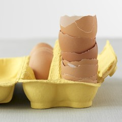A stack of egg shells in a yellow egg box