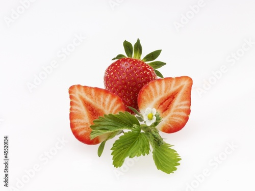 Strawberries with leaf and blossom