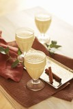 Three Glasses of Egg Nog; Cinnamon Sticks