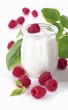Organic yogurt with raspberries