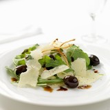 Rocket salad with olives and parmesan