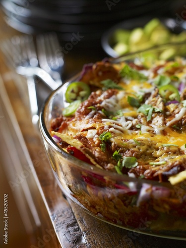 Mexican lasagne in a baking dish