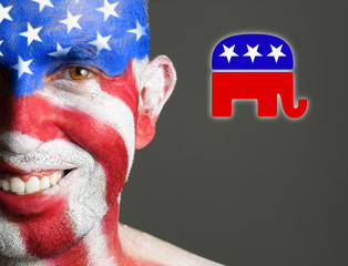 Man face painted flag USA, republican symbol