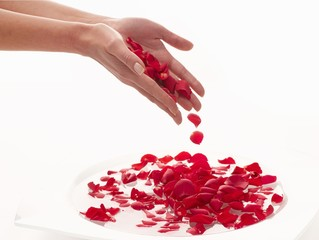 Bathing hands in a bowl of water with rose petals