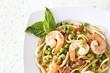 Shrimp Linguine with Peas and Pancetta