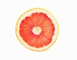 Pink Grapefruit Slice; White Background