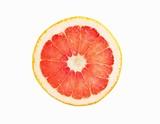 Pink Grapefruit Slice; White Background