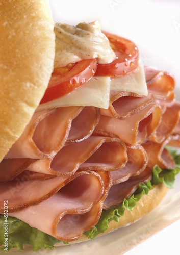Ham Sandwich with Swiss Cheese, Tomato and Dijon Mustard